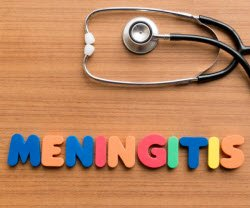 Photo of stethescope and the word Meningitis