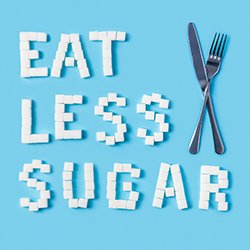 "Graphic that says ""Eat less sugar"""