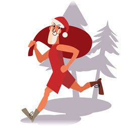 Illustration of Santa Claus out for a run