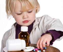 Child with medicine - poison prevention