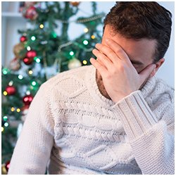 Photo of depressed man during the holidays