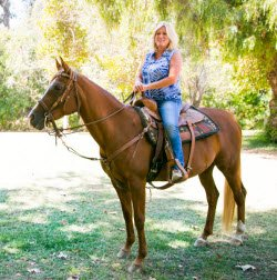 Jean Harvey on her horse