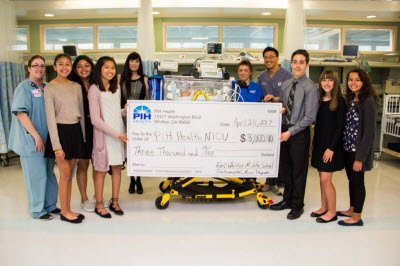 For over ten years, the East Whittier Middle School Instrumental Music Program has raised and donated proceeds from selling tickets to their annual spring benefit concert at the Rose Hills SkyRose Chapel. Students have raised approximately $30,000 to benefit the Neonatal Intensive Care Unit (NICU) and Pediatric Care at PIH Health Hospital - Whittier.