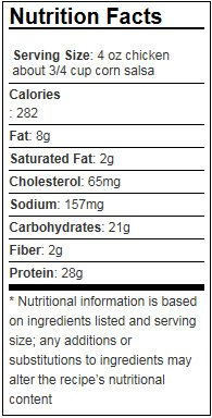 Nutritional facts for grilled chicken with corn salsa