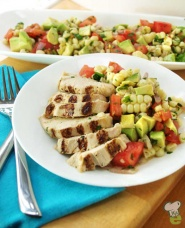 Grilled chicken and corn salsa