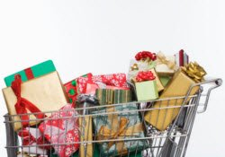 Holiday Shopping Stress - cart full of presents