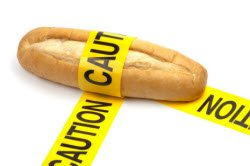 Roll of bread with caution tape